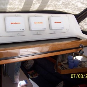 Companionway hatch showing handle with five coats of System Three epoxy.