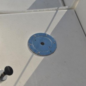 Replaced vinyl floor access plate leading to emergency rudder steering with SS plate.