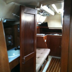 Looking aft with new cabin sole and new bulkheads installed.