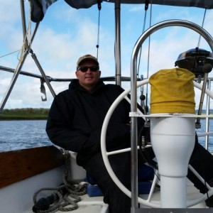me, hard at the wheel, motoring upriver from st.helens to portland (autopilots are such a blessing)