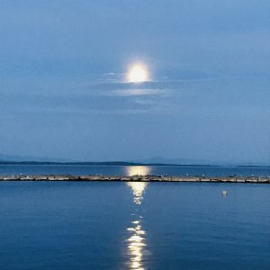 Full moon over Lake Champlain