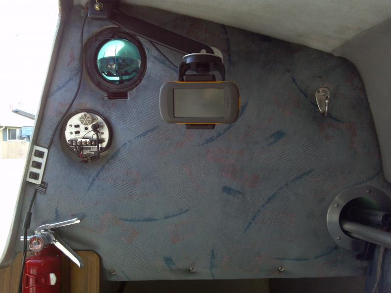 tube installed for pole storage      GPS seen from inside Garmin